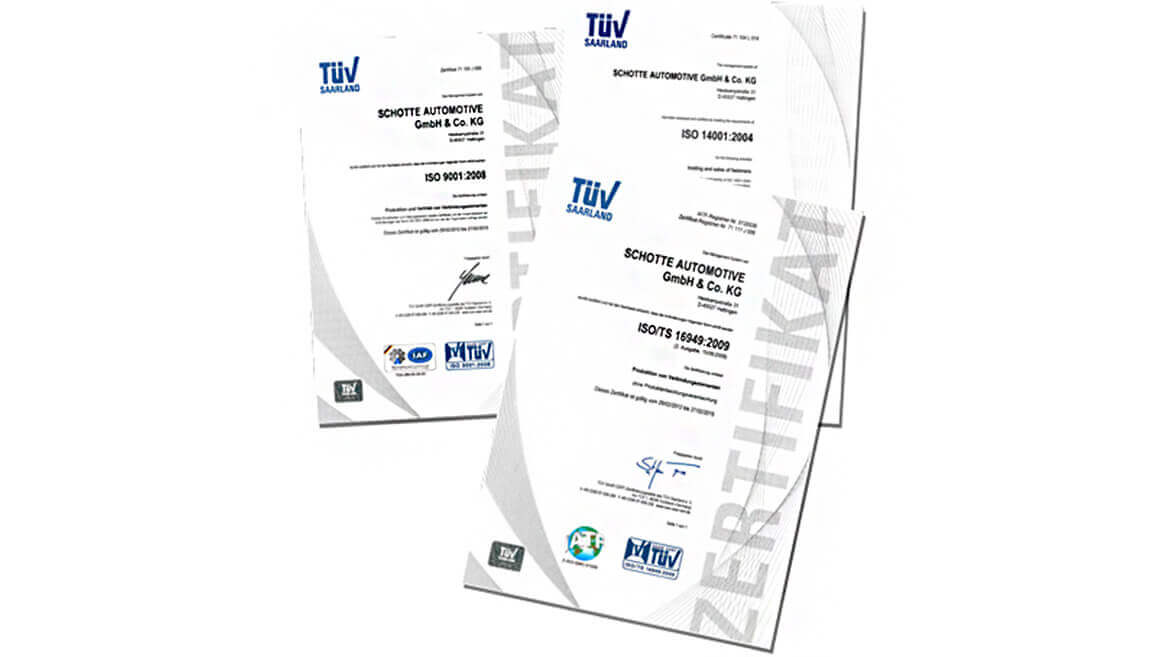 Schotte Automotive is certified according to: IATF 16949:2016, DIN EN ISO 14001:2015, DIN EN ISO 9001:2015